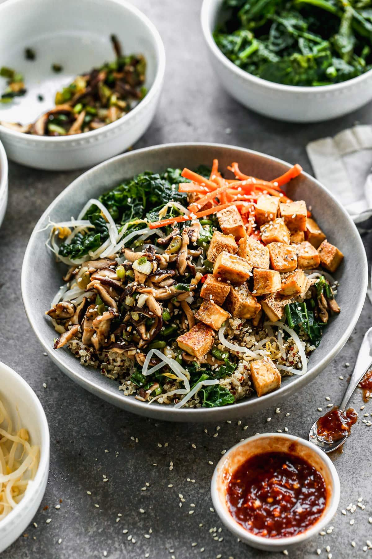 Bibimbap with Crispy Tofu and Quinoa. Vegetarian and gluten free!