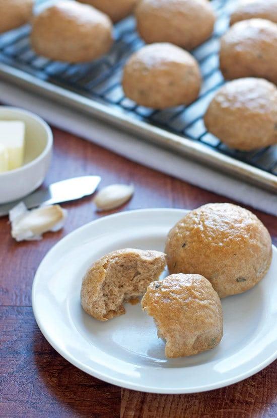 Soft and fluffy roasted garlic potato roll recipe.