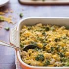 Healthy Cheesy Chicken Broccoli Rice Casserole. A lightened up version of the classic casserole recipe, with NO condensed soup.