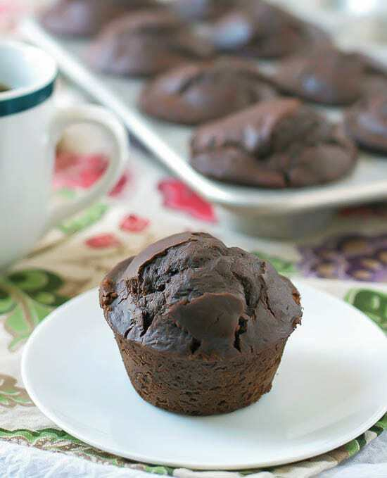 Chocolate Chunk Coffee Muffins. Recipe for double chocolate muffins with twice the chocolate and coffee!