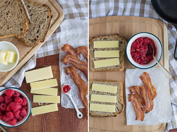 Raspberry Chipotle Bacon Grilled Cheese-Ready to Build