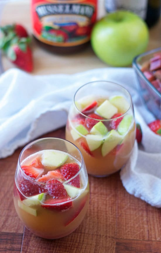 Sparkling Rhubarb Apple Sangria. The perfect sparkling sangria cocktail recipe for spring! Made with fresh rhubarb.