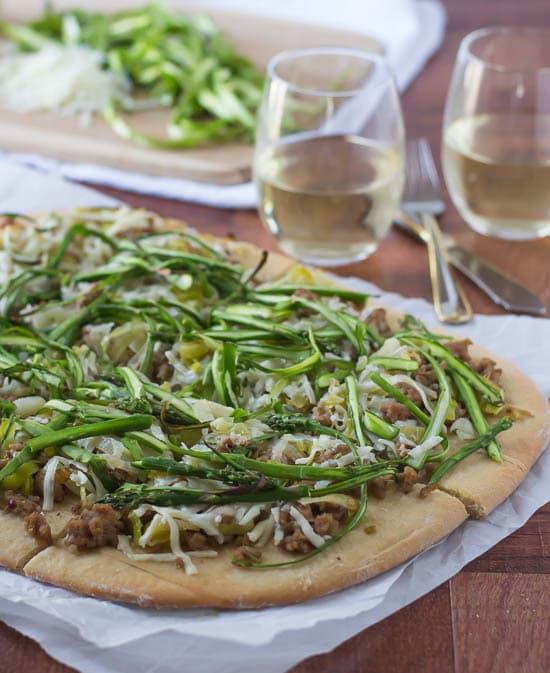 Spicy Turkey Leek Asparagus Pizza Recipe