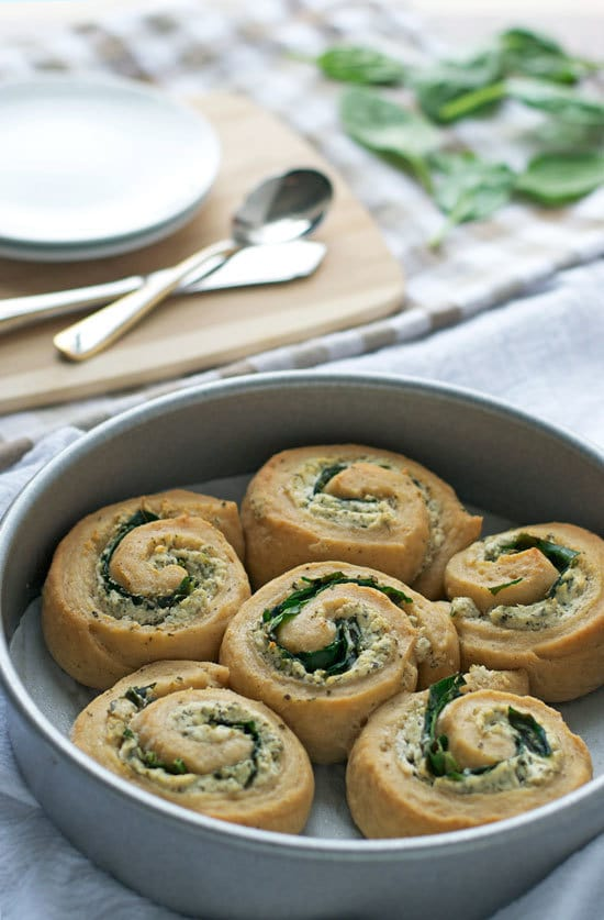 Goat Cheese Spinach Swirl Rolls. Savory whole wheat swirl buns with goat cheese and spinach filling.