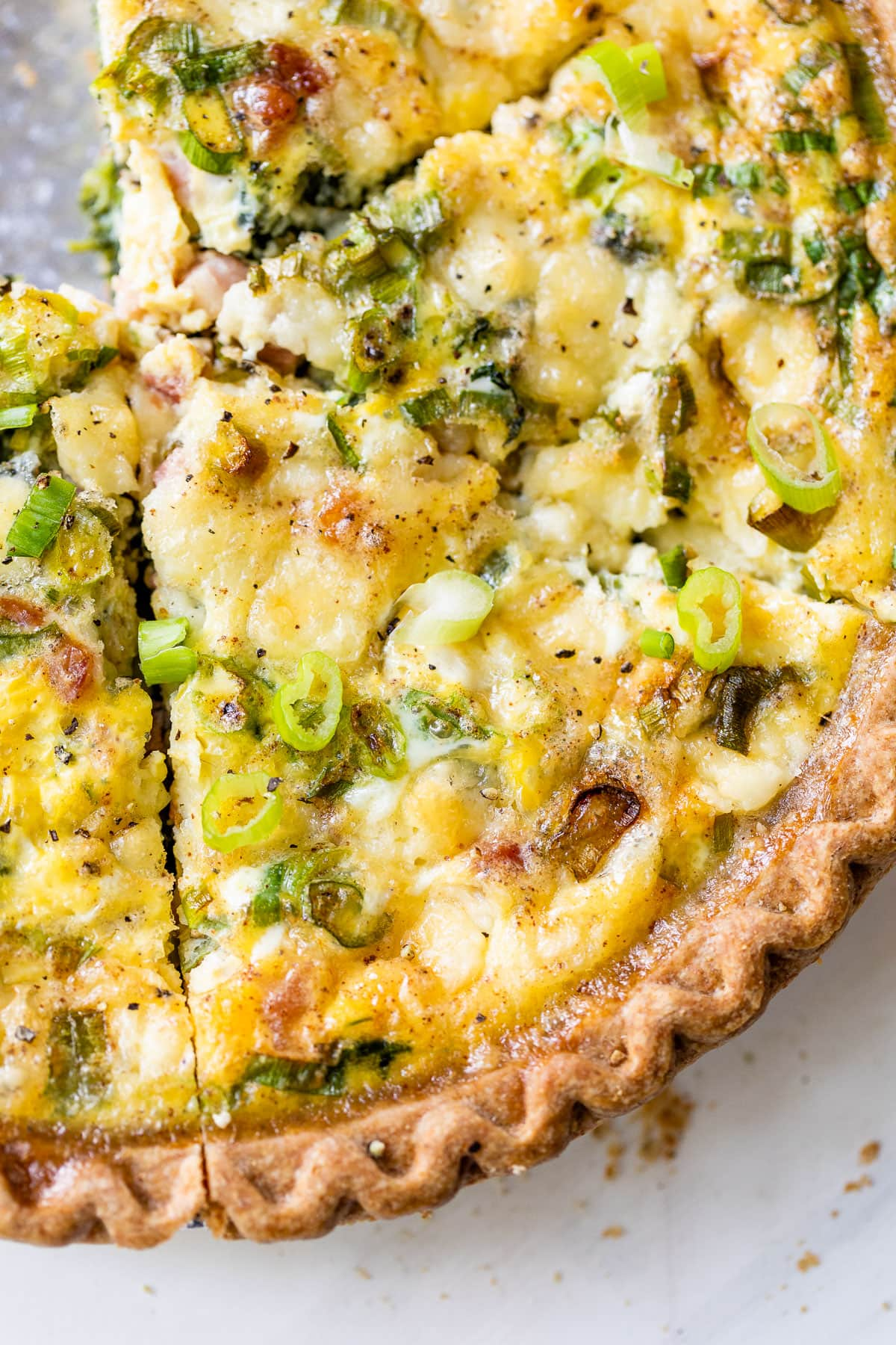 Easy quiche for breakfast with ham, cheese, and spinach