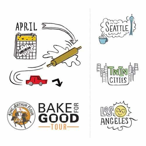 Bake for Good Tour graphic with details on locations