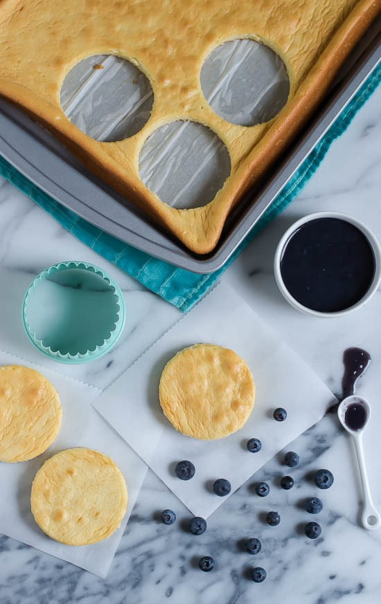 Buttermilk Chiffon Cake with Blueberry Curd and Buttermilk Whipped Cream-Cutting out the sheet cake