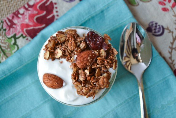 Chocolate Almond Olive Oil Granola with Coconut. Healthy and unbelievably addictive!