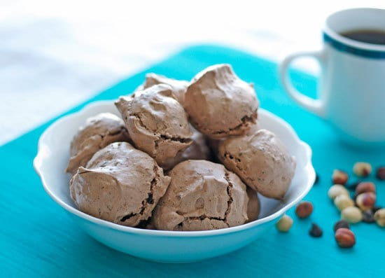 Hazelnut Latte Chocolate Meringue Cookies. Chocolate chewy meringues!