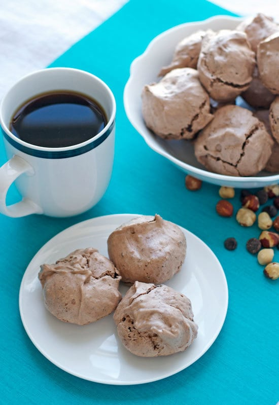 Hazelnut Latte Chocolate Meringue Cookies. Chocolate meringue cookies flavored with hazelnuts and coffee.