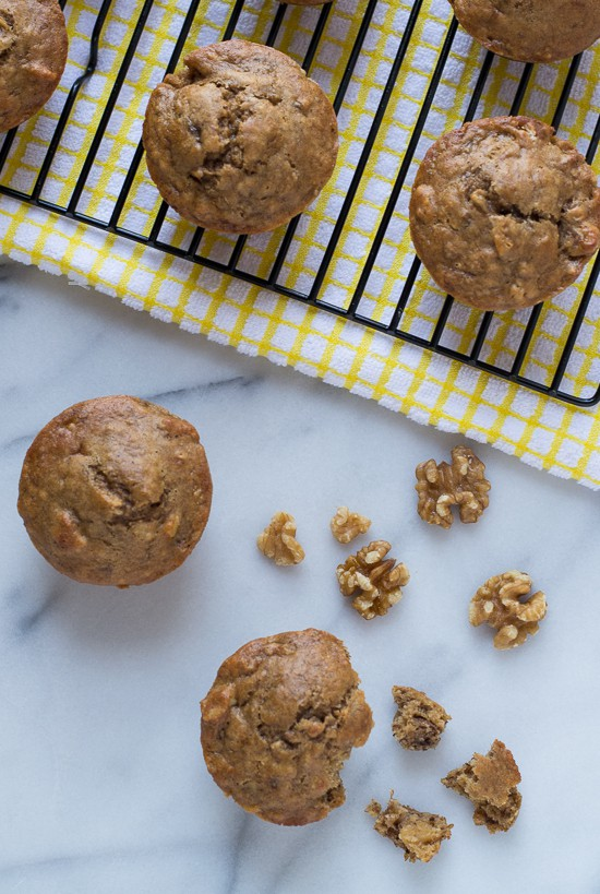 Healthy Banana Muffins with walnuts and whole wheat flour