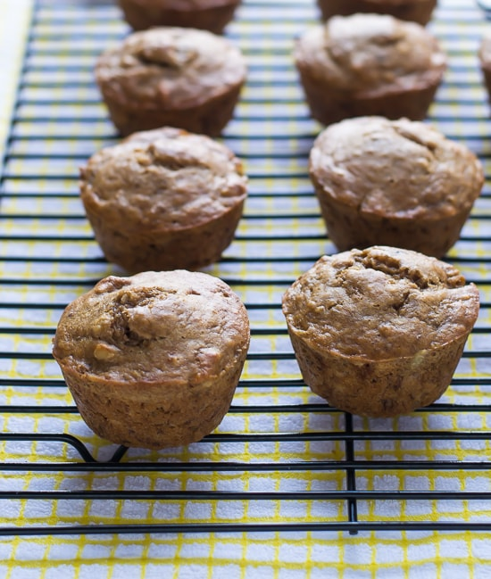 Healthy Banana Nut Muffins made with whole wheat flour