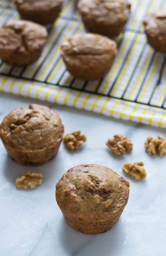Healthy Banana Nut Muffins. Super moist and made with whole wheat flour