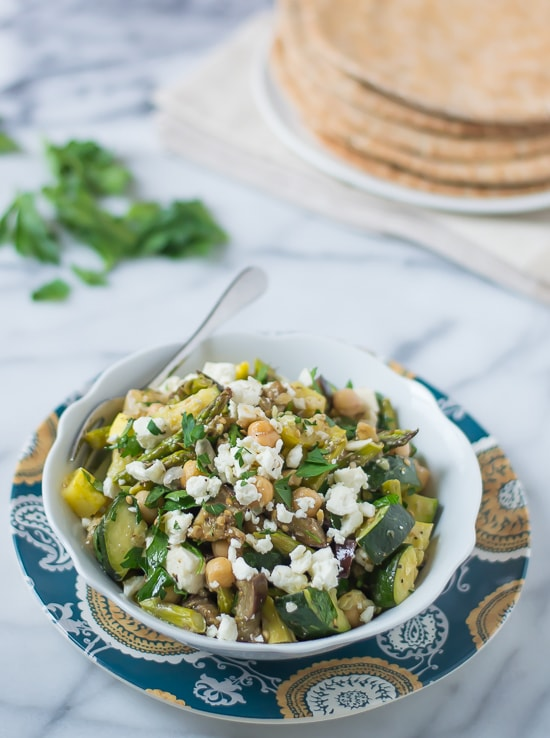 Mediterranean Roasted Vegetable and Chickpea Salad with Feta