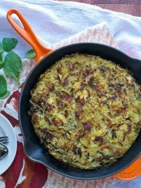 Mushroom and Feta Hash Brown Skillet. So yummy for a vegetarian dinner, side, or brunch.