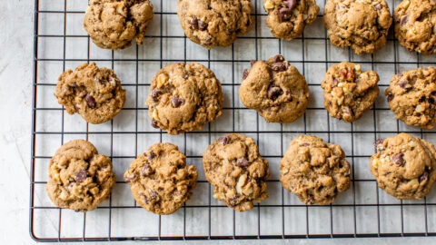 Healthy chocolate chip walnut cookies on a cooling rack