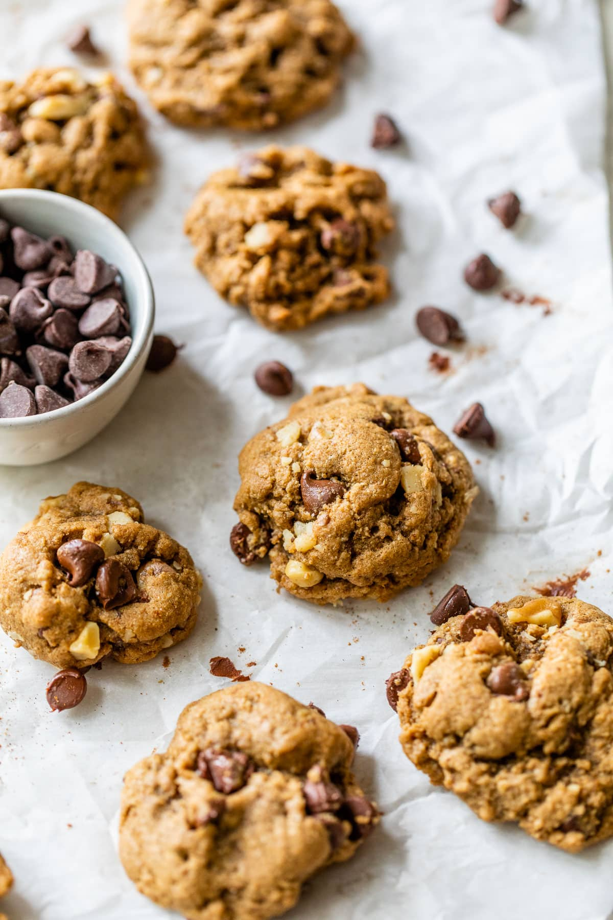 Whole Wheat Walnut Chocolate Chip Cookies with espresso, dark chocolate and cinnamon.
