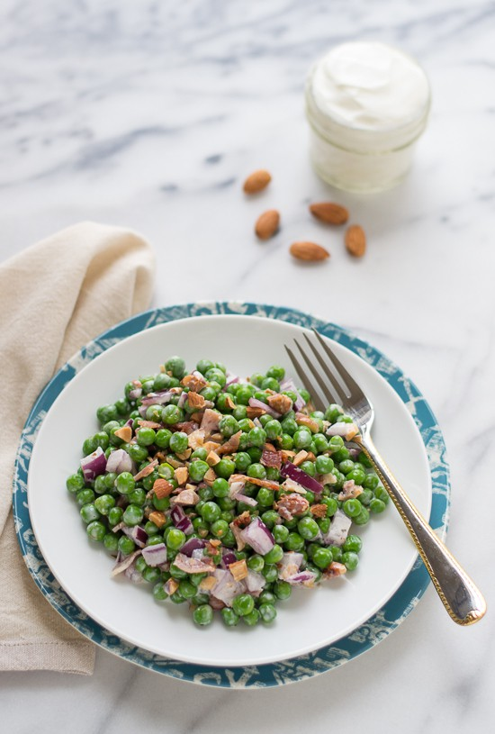 Creamy Green Pea Salad with Almonds and Bacon