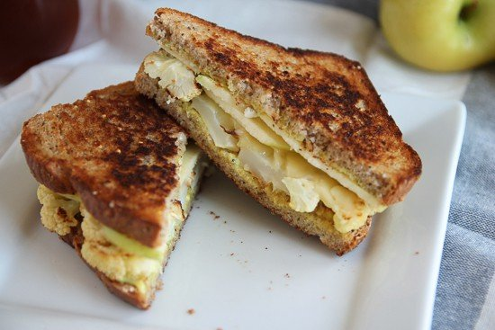Curried Cauliflower Melts. A delicious vegetarian grilled cheese sandwich.