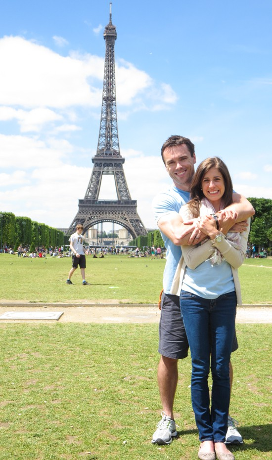 Erin and Ben Clarke in front of the Eiffel Tower