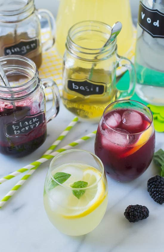 Grown Up Lemonade Bar with Basil, Blackberry, and Ginger Simple Syrup