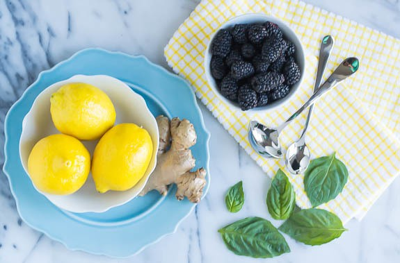Grown Up Lemonade Bar with Basil, Blackberry, and Ginger Simple Syrup-Ingredients