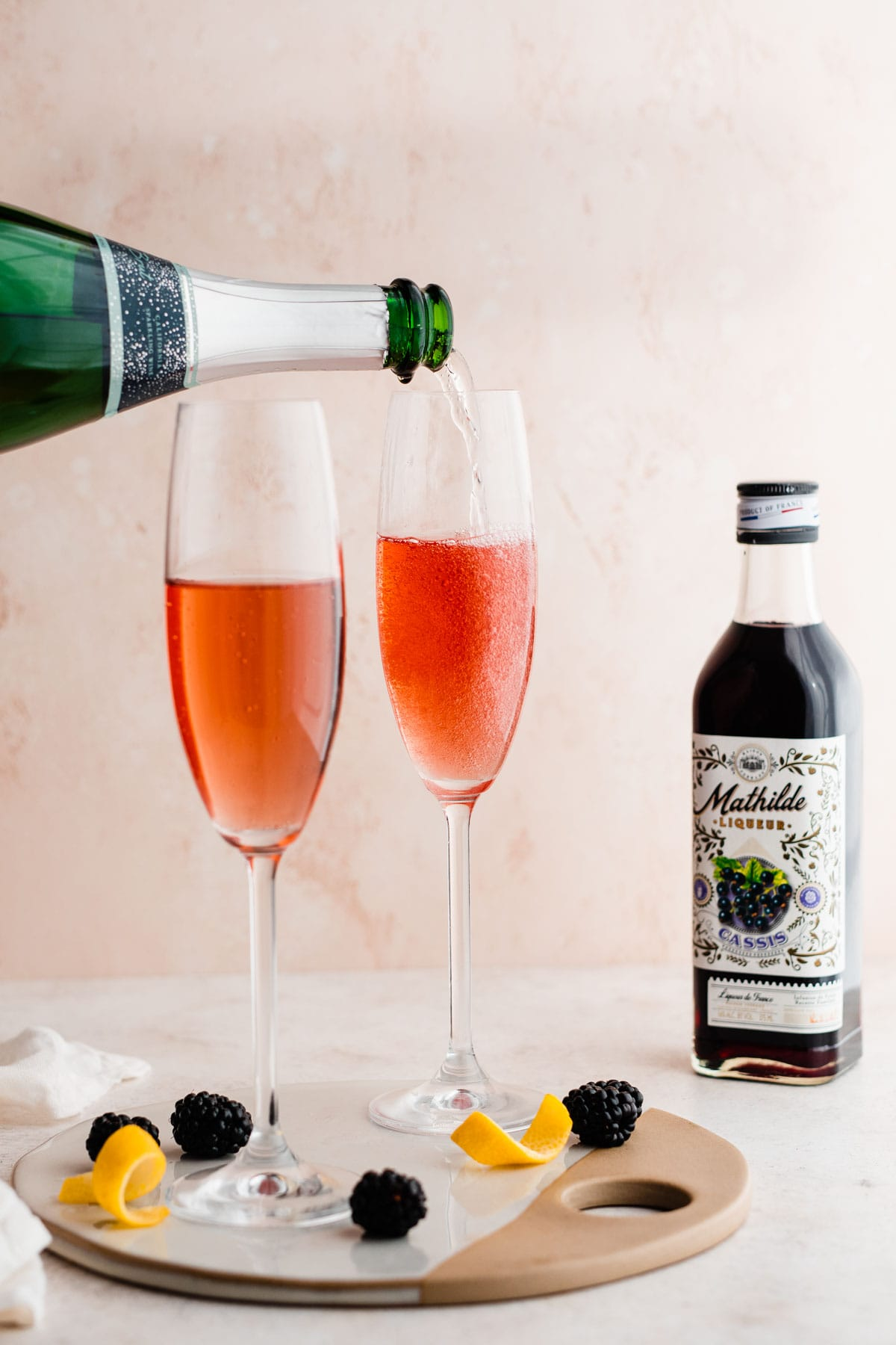 Kir Royale - A classic French cocktail made with champagne and currant liqueur
