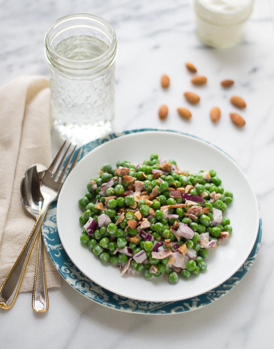 Lightened Up Green Pea Salad with Almonds and Bacon