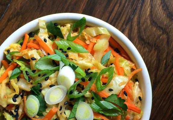 Sesame Ginger Sautéed Cabbage & Carrots. Healthy, simple, and delicious!
