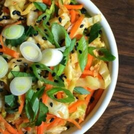 Sesame Ginger Sautéed Cabbage & Carrots Recipe.