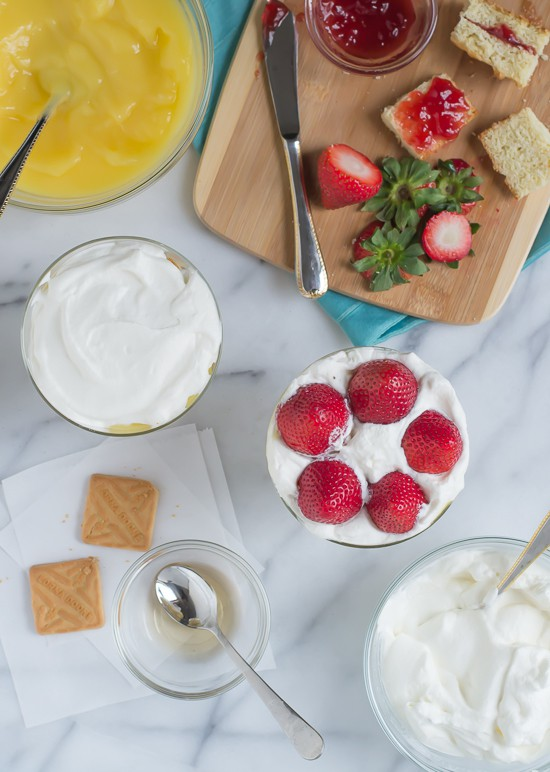 Strawberry Shortcake Trifle Recipe-Building the mini trifles