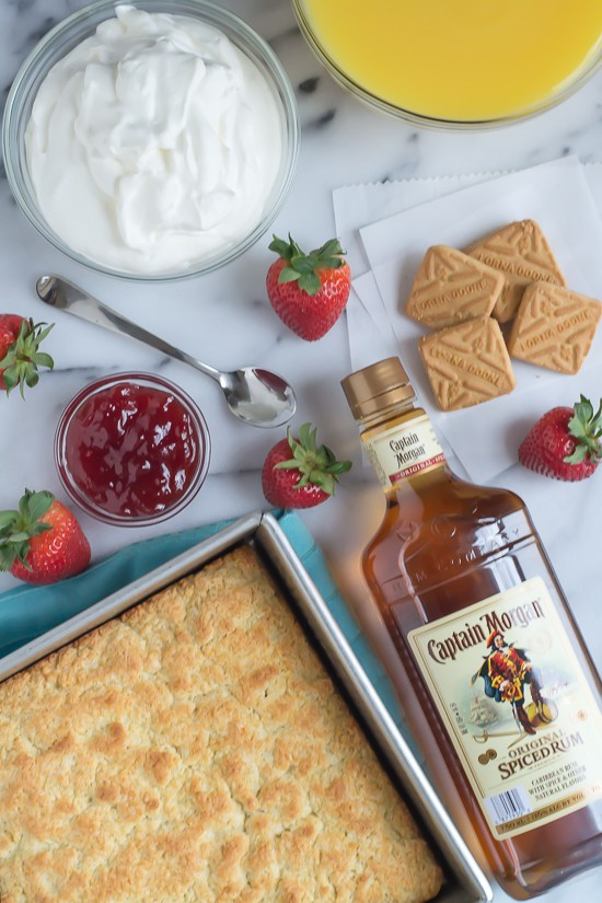 Strawberry Shortcake Trifle -Shortcake, cookies, and rum