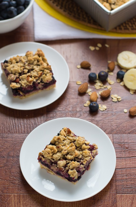 Skinny Banana Blueberry Bars. You'll never believe these are lightened up!
