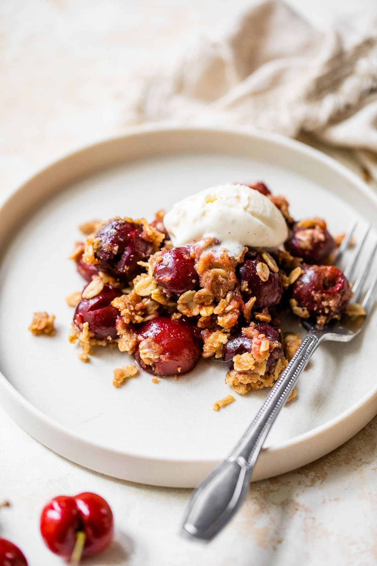 Double Crust Cherry Crisp - Oatmeal crisp on the bottom and the top!