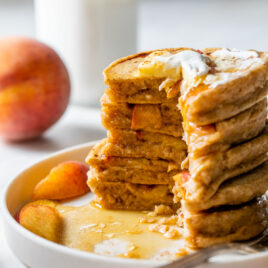 Healthy Peaches and Cream Pancakes with Ginger Peach Compote