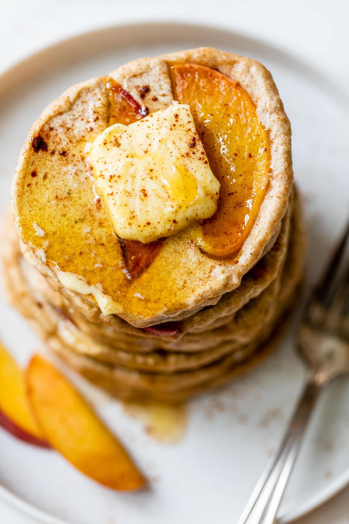 Healthy Peaches and Cream Pancakes