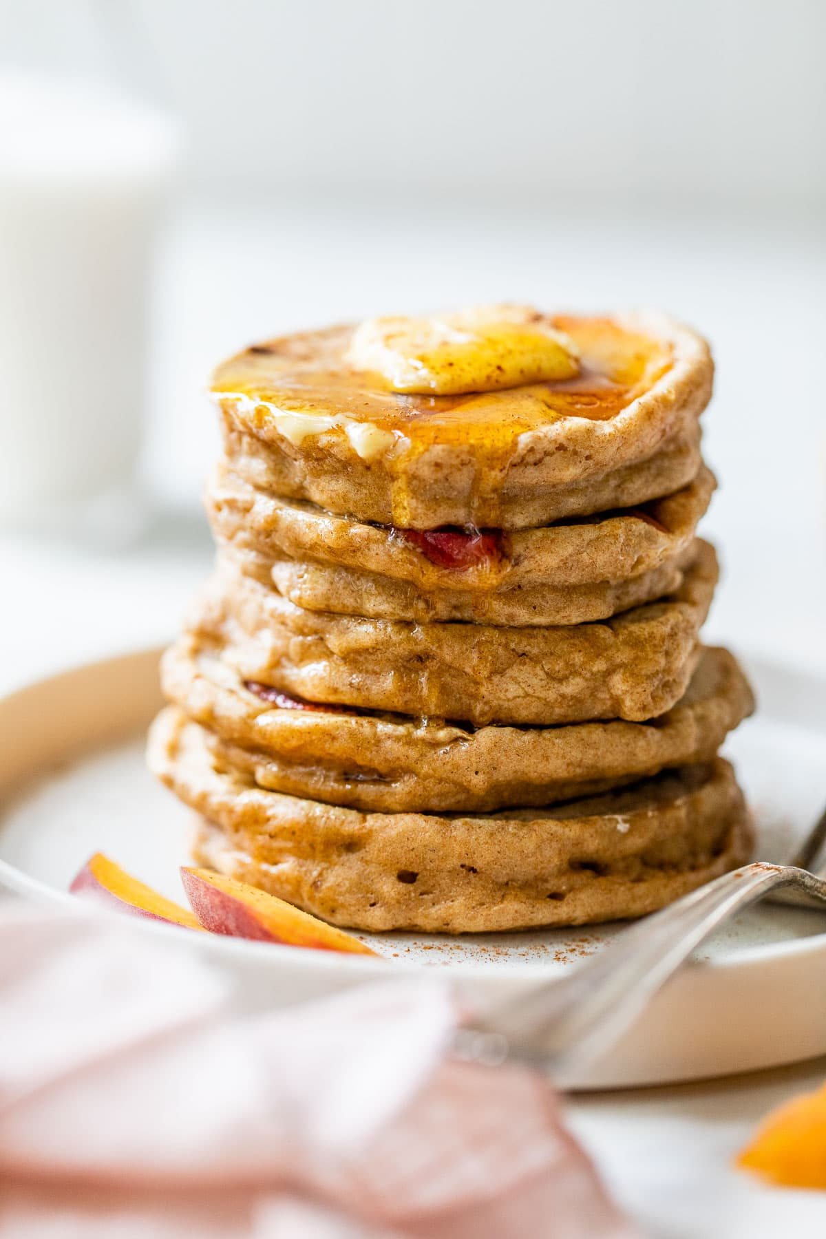 Peaches and Cream Pancakes made with Bob's Red Mill 10 Grain Pancake Mix