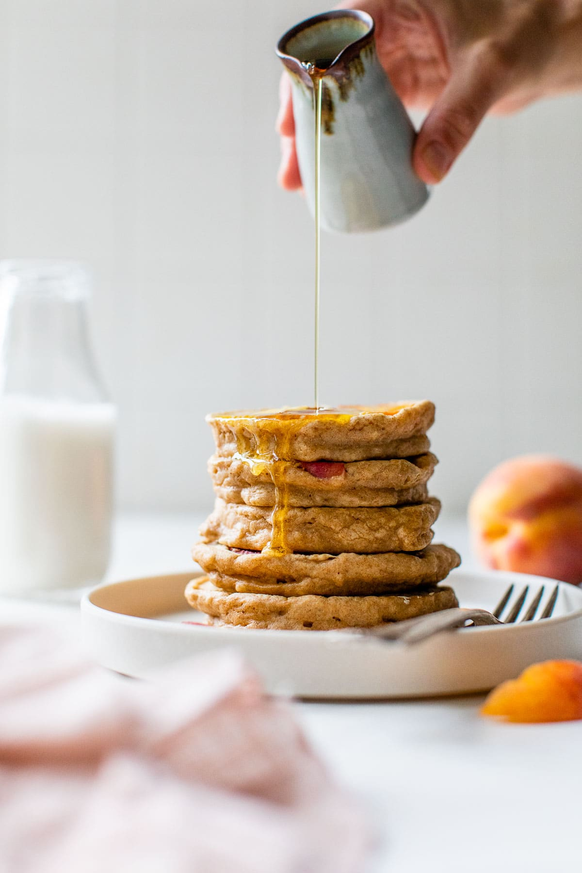 Peaches and Cream Pancakes with Honey Peach Compote - Honey Drizzle