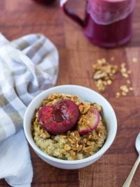 Plum Crunch Steel Cut Oats. A delicious and healthy way to perk up your oatmeal!