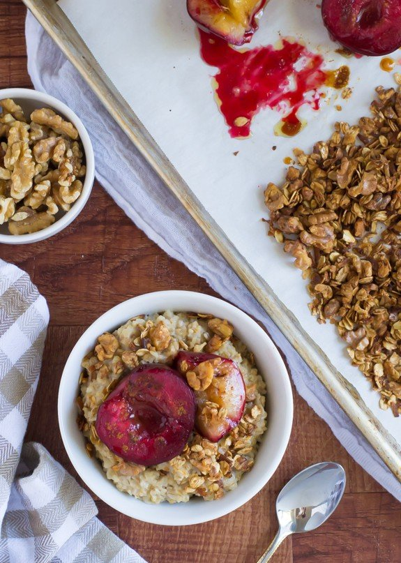 Roasted Plum Crunch Oatmeal