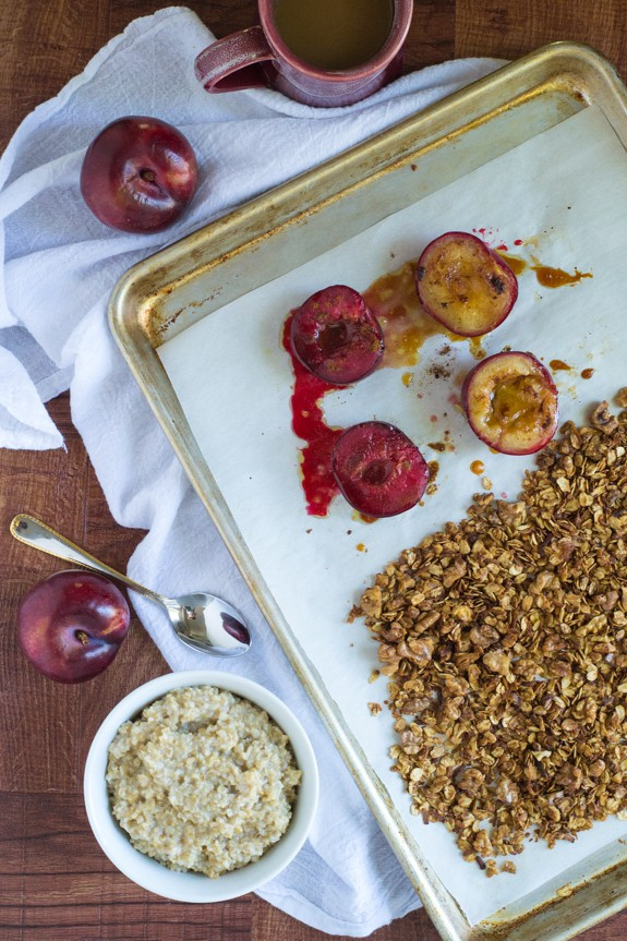 Roasted Plums with Steel Cut Oats and Healthy Granola