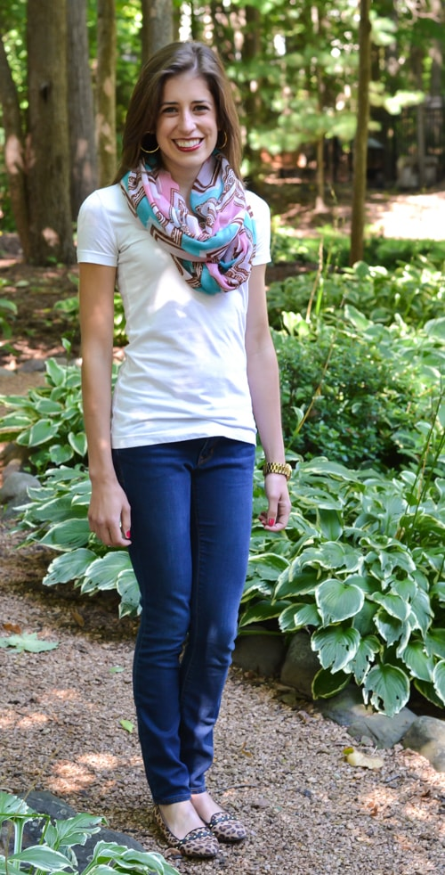 Aztec print scarf with simple T, jeans, and fun shoes
