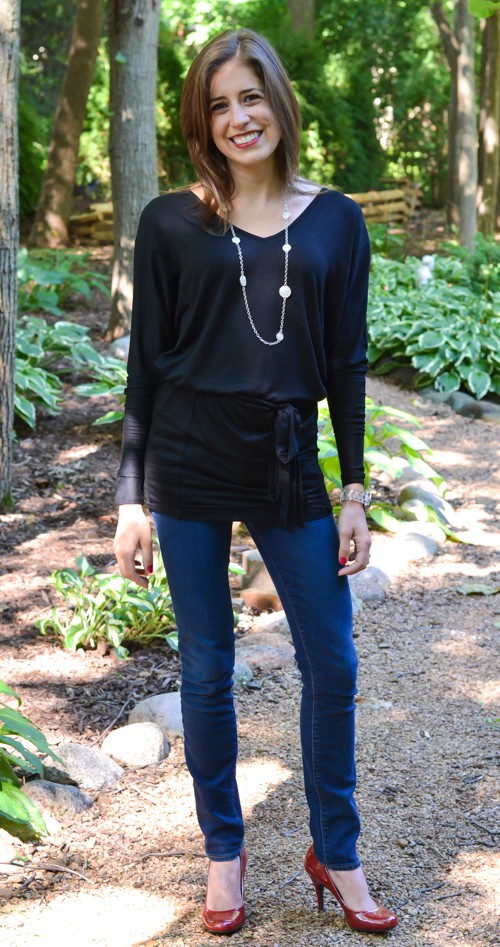 Black tunic with red heels