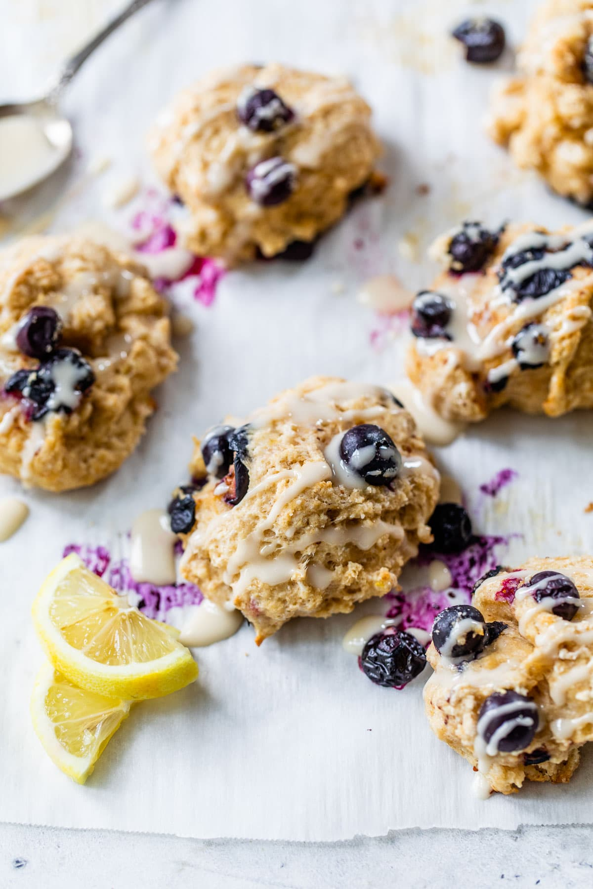 Blueberry Goat Cheese Drop Biscuits. Super fluffy and so easy to make. Simply mix, scoop, and bake!