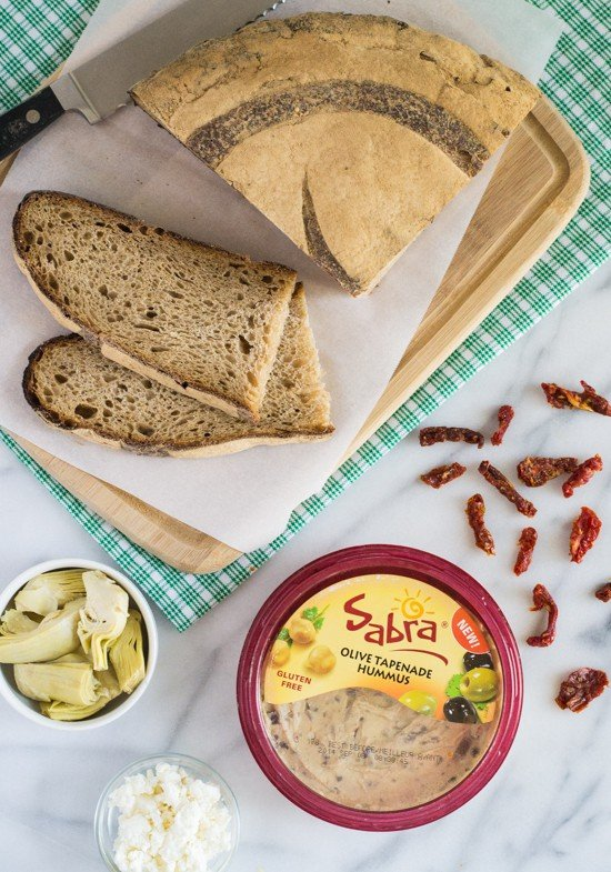 Sundried Tomato, Artichoke and Hummus Tartines-Start with hummus and good bread, then top!