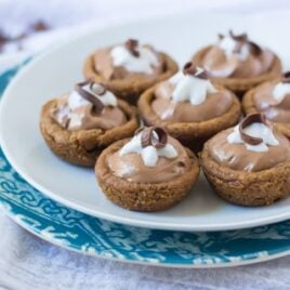Mini French Silk Cookie Pies. Pillsbury chocolate chip cookie dough baked in a muffin tin with decadent French silk filling.