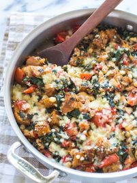 One Skillet Tomato, White Bean, and Parmesan Crouton Bake Recipe
