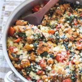 One Skillet Tomato, White Bean, and Parmesan Crouton Bake Recipe