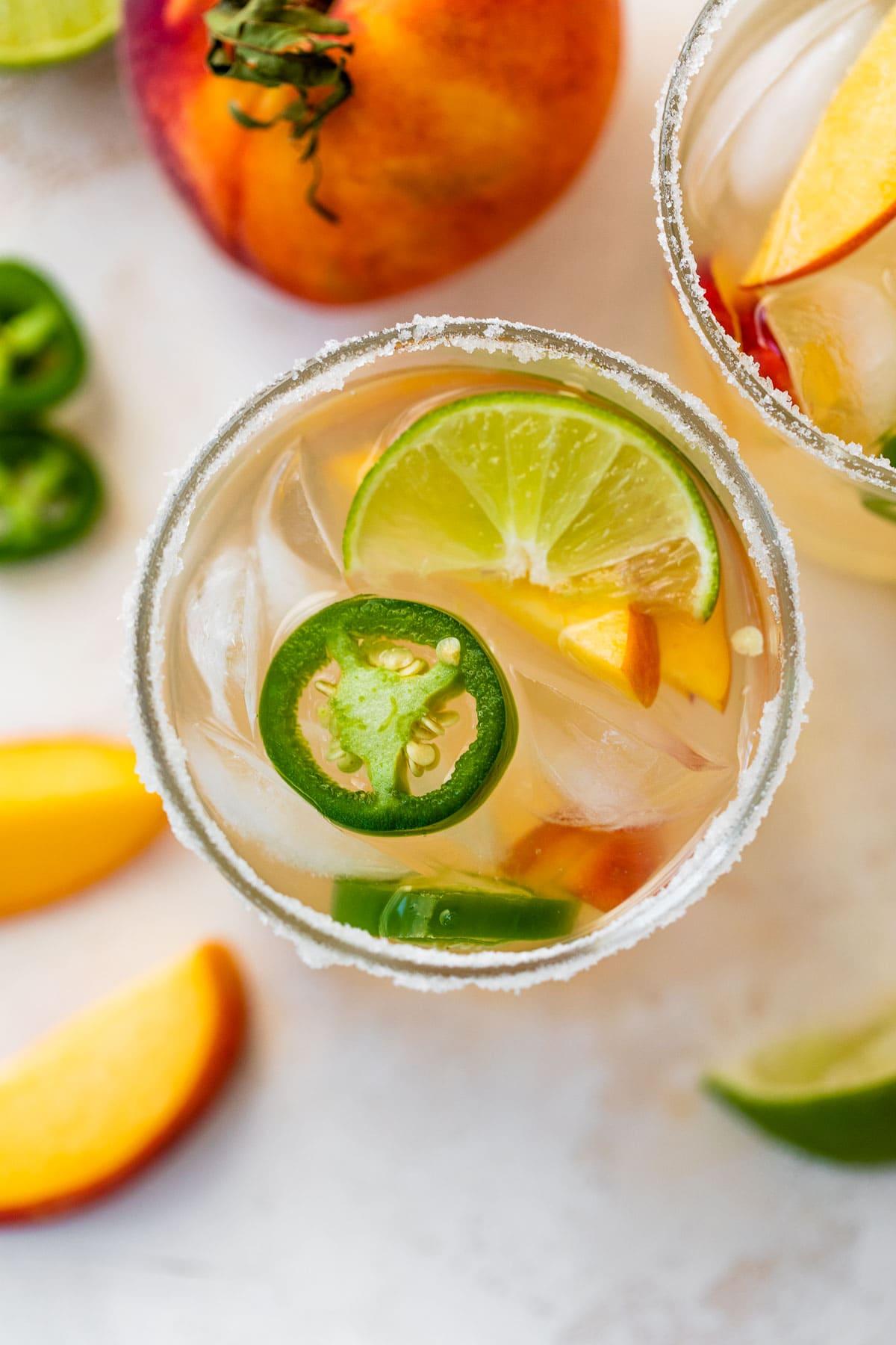 Peach Jalapeno Margaritas-Fresh peach margaritas with a kick