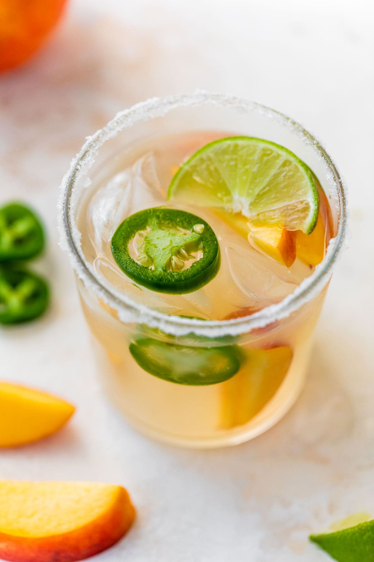 Peach Jalapeno Margaritas-Fresh peach margaritas with jalapeno simple syrup